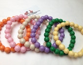 Pretty Round Resin Bead bracelet in Tangerine Baby Pink Ivory Lavender Green Lemon