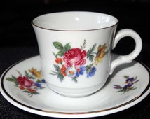Miniature Tea Cup with Saucer Golden Crown E & R Bavaria Germany Home and Garden Kitchen and Dining Tableware Drinkware Coffee and Tea Cups