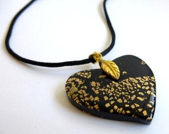 Heart Pendant Black Heart Pendant Black Heart Necklace Heart Necklace Valentine's Day Pendant Hand Made