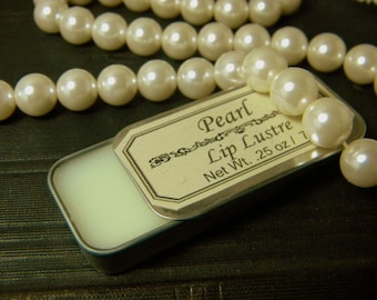 Pearl Lip Balm, Natural Lip balm tin with Lemon and Ylang Ylang, essential oils, natural lip gloss