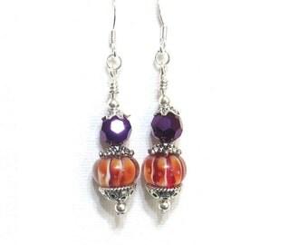 Earrings Orange & Purple, Striped Orange Beads and Purple Crystals, Sorority Jewelry, Graduation Gift