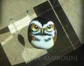 Owl No.27 -     SMALL  ANGRY  handpainted  rock