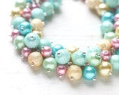 Pastel Wedding Bridesmaids Jewelry, Pearl Cluster Bracelet - Colorful Mint Green, Pink, Blue and Yellow Bracelet