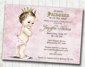 Girl Baby Shower Invitation Vintage Baby Shower Invitation For Girl - Princess - Crown - Pink and gold - DIY Printable