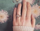 Vintage Rhinestone Button Ring, Shabby Chic Statement Jewelry, Eco Friendly Adjustable Ring for Women, Teen Girls