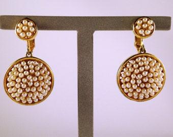 SIGNED MARVELLA Pearl Disc Earrings - Vintage Marvella Earrings - Marvella Jewelry - Marvella Pearl Earrings - Marvella Filigree Earrings