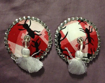 Picnic pasties and tassels! Red and white checkered picnic fabric with ANTS! size medium