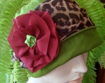 womens hat beanie chemo slouchy wool thermal leaf green with burgundy with animal print band