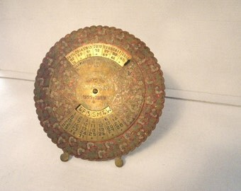 1955 to 2029 India Brass Desk Calendar  - Red Enamel - 2016 2017 Calendar