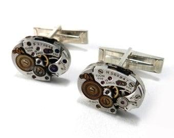 Steampunk Cufflinks Cuff Links SOLID Sterling SILVER Steampunk Watch Movement Cuff Links - Mechanical Elgin Watches - Smaller Size