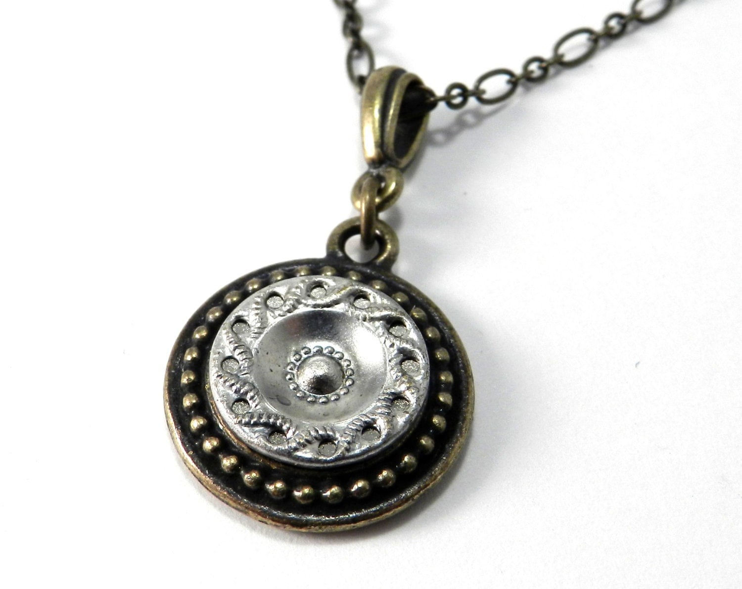 button necklace antique button jewelry iced