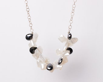Mystic Quartz and Hematite Front Drops Necklace on Sterling Silver, Black and White Necklace, Lula Designs