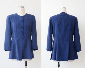80's Womens Evening Jacket Blue Silk Jacket L Evening Jacket 12 Silk Coat Silk Blazer Womens Evening Wear Desinger Jacket Large