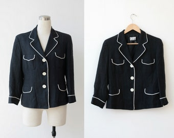 Vintage DKNY blazer / black blazer Large / linen jacket / designer jacket L