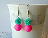 Hot Pink and Turquoise Rose Earrings - Beaded Dangle Bubblegum Pink Flower Summer Jewelry Gift