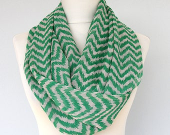 Green chevron scarf infinity scarf zig zag scarf summer scarves for women trending loop scarf circle scarf fashion scarves gift for her