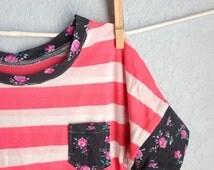 Girls Top - Pink Stripe Gray Floral Dolman Shirt (6m, 12m, 18m, 2t, 3t, 4, 5, 6, 7, 8, 9, 10)
