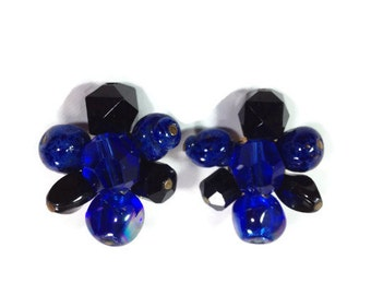 1950s Hattie Carnegie Blue Lapis and Glass Clip Earrings