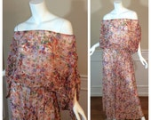 RESERVED Gloria Ehlebracht STOREWIDE SALE Vintage 1970s Designer Scott Barrie Peach Sheer Maxi Dress