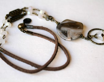 Antiqued Brass Silver Needle Jasper and Czech Glass Suede Corded Magnetic Clasp Gemstone Eyeglass/Badge Lanyard