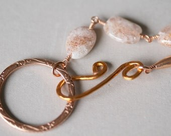 Light Peach Sunstone and Copper Leather Corded Front Closure Eyeglass ID Lanyard