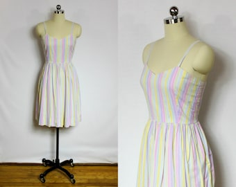 Vintage pastel striped day dress by Laura Ashley