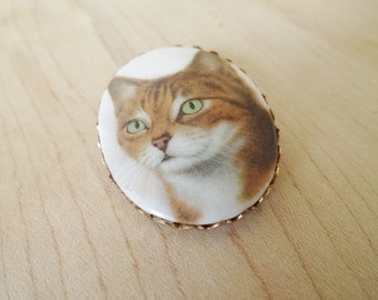 Vintage Porcelain Tabby Cat Pin Brooch