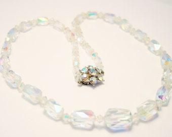 Vintage crystal bead necklace. Aurora borealis beads. Rectangular crystal beads