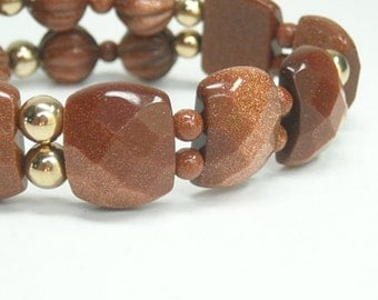 Chunky Goldstone Bracelet, Rusty Brown, Coppery Gold Sparkles, Stretch, Gold Filled, Gemstone, Cuff, Beaded