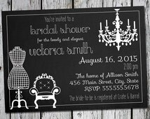 Glamorous, classy bridal shower invite - 5 x 7 printable - chandelier, mannequin, chair in black and white with script font