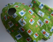 CLEARANCE Toddler Bib and Little Blanket Green Bugs