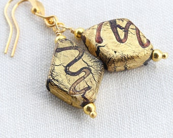 Purple Gold Diamond Earrings, French Handmade Beads, Real Goldleaf Glass Earrings, Freehand Squiggles, Artisan Earrings, Unique Gift For her