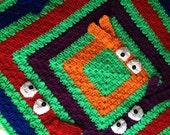 Colorful pick a boo blanket, crochet baby blanket , custom blanket
