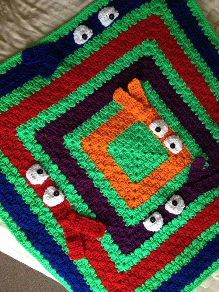Crochet Pattern For Ninja Turtle Blanket : Colorful pick a boo blanket crochet baby blanket by ...