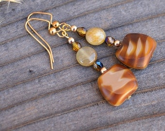 Geometric Pattern Glass and Beryl Earrings