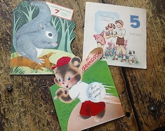 Trio of Vintage Youth BirthDay CARDS