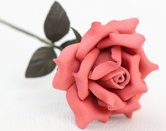 Leather rose coral pink third Anniversary wedding gift Long Stem leather flower Valentine's Day 3rd Leather Anniversary Mother's Day