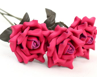 3 hot pink leather rose bouquet third Anniversary wedding gift Long Stem leather Flower Valentine's 3rd Leather Anniversary Mother's Day