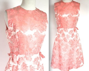Vintage 1950's Dress // 50s 60s Peachy Pink Pink Brocade Satin Wiggle Dress // Versailles Bombshell // DIVINE