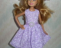 Handmade Stacie doll clothes - Choose 1 - pastel and white print dress with hat