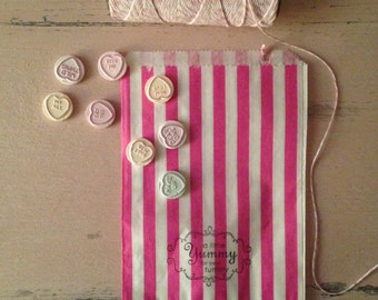 Striped paper sweet/treat/candy bags ~ Handstamped
