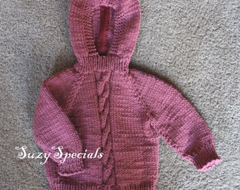 Knitted Hooded Rose Pink Baby Sweater with Back Zipper