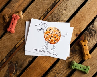 Dog Treats Notecard - Chocolate Chip Lab (chocolate labrador, dog notecards, dog stationery, blank interior for thank you, thinking of you)