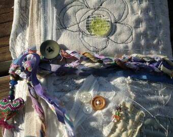On Sale! Fabric Handmade Journal, Art Journal, DIY, Wedding Guest Book, Mixed Media Journal