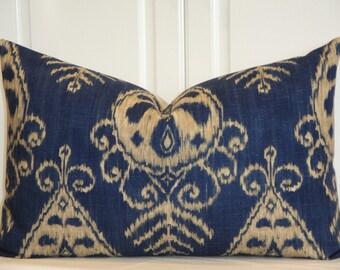 Decorative Pillow Cover - 16 x 25 - Duralee - Throw Pillow - Accent Pillow - Sapphire - IKAT Pillow