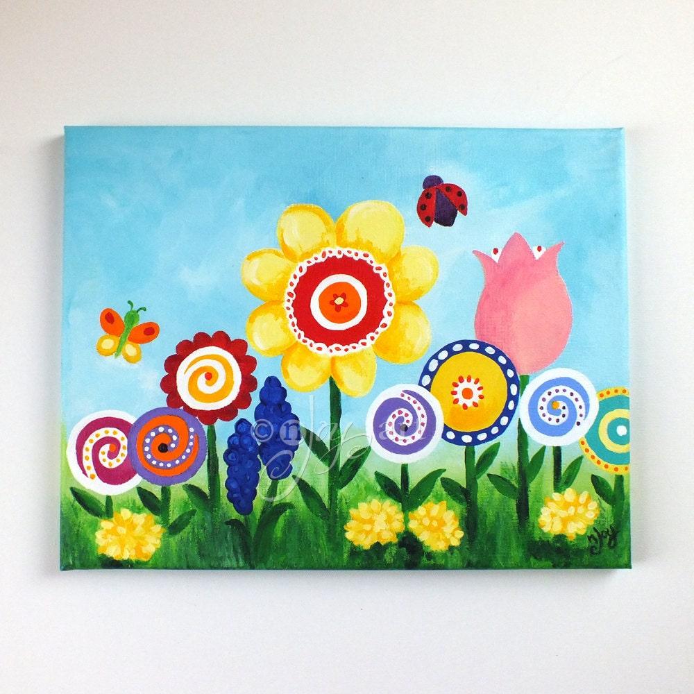 Art for kids room flower garden 14x11 canvas painting for Artwork for kids bedrooms