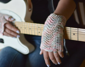Musicians fingerless gloves in pastel colors knit cotton lace women's wrist warmers in Pantone 2016 colors
