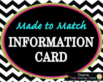 INFORMATION CARD - Made to Match Any Theme in Our Store - Fast Turnaround
