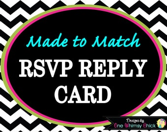 RSVP REPLY CARD - Made to Match Any Theme in Our Store - Fast Turnaround - Includes Envelopes
