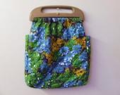70s Retro Floral Handbag Purse with Wooden Handles
